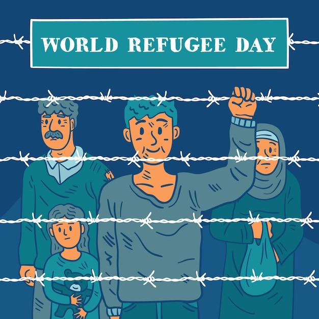 La gente oltre il giorno del rifugiato disegnato a mano recinzione Vettore gratuito