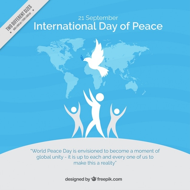 People blue background with the symbol of peace Free Vector