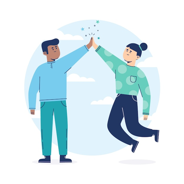 People in blue clothes giving high five Free Vector