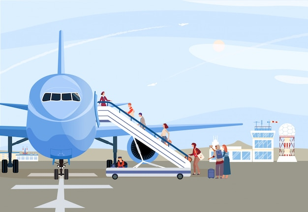 People boarding airplane, passengers walking up ramp, plane on airport runway,  illustration Premium Vector