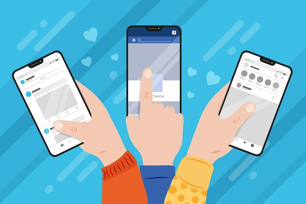 People browsing on their mobile phones Free Vector