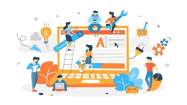ウェブサイトを構築している人々 Premiumベクター