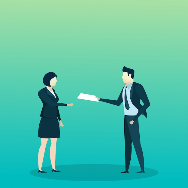 People business man give document Premium Vector