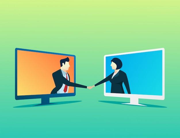 人ビジネスマンと女性のオンライン取引 Premiumベクター