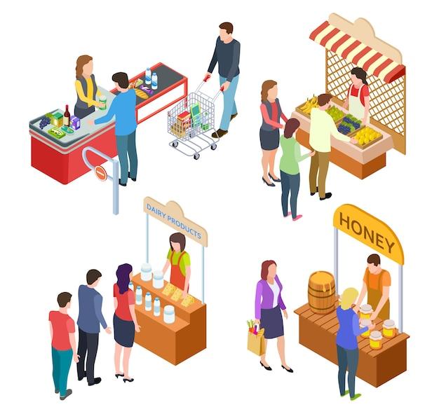 Люди покупают еду Premium векторы
