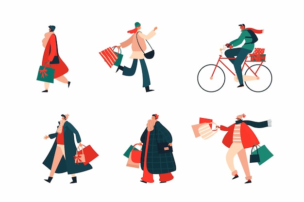 People buying christmas gifts set Free Vector