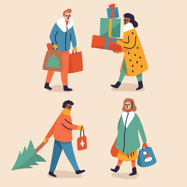 People buying christmas gifts Free Vector