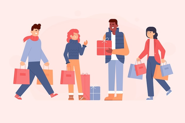 People buying christmas presents Free Vector