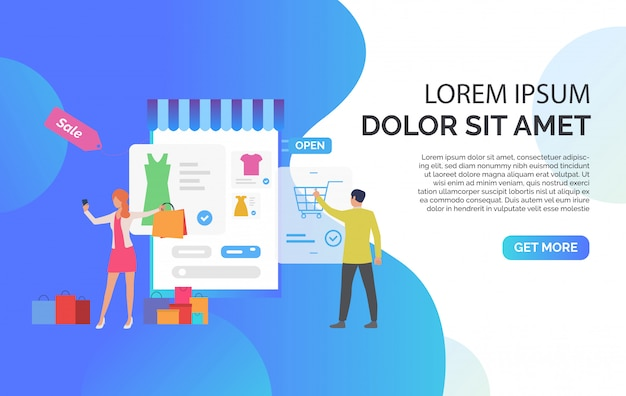 People buying clothes online with sample text Free Vector