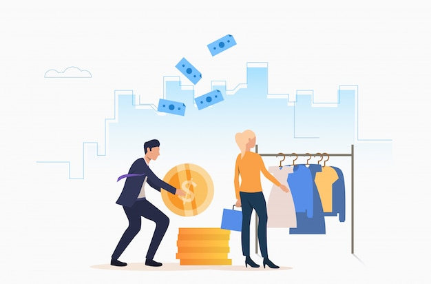 People buying clothes with cash Free Vector