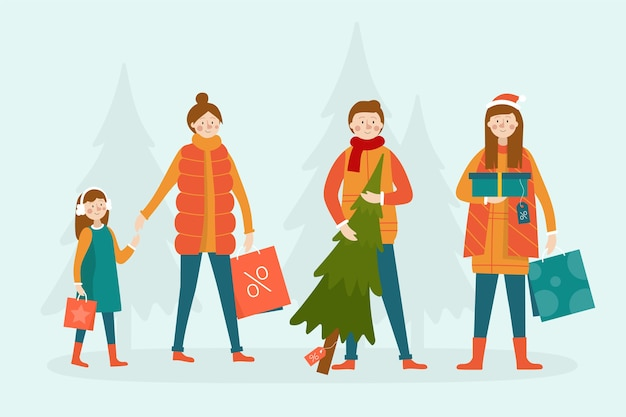 People buying gifts winter season background Free Vector