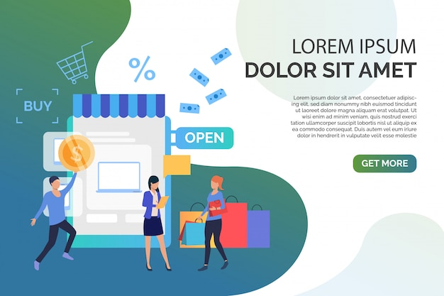 People buying goods in online shop with sample text Free Vector