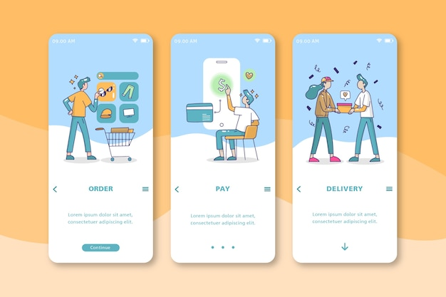 People buying online mobile interface design Free Vector