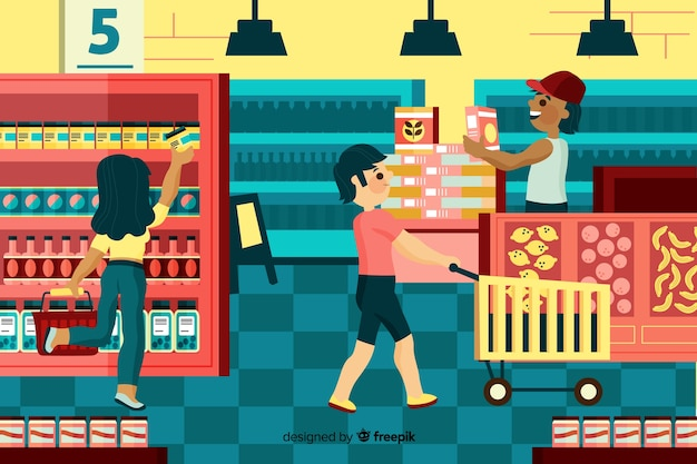 People buying in the supermarket, illustration with characters Free Vector