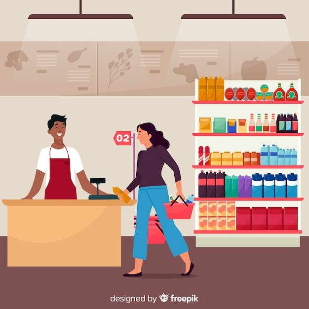 People buying in the supermarket Free Vector
