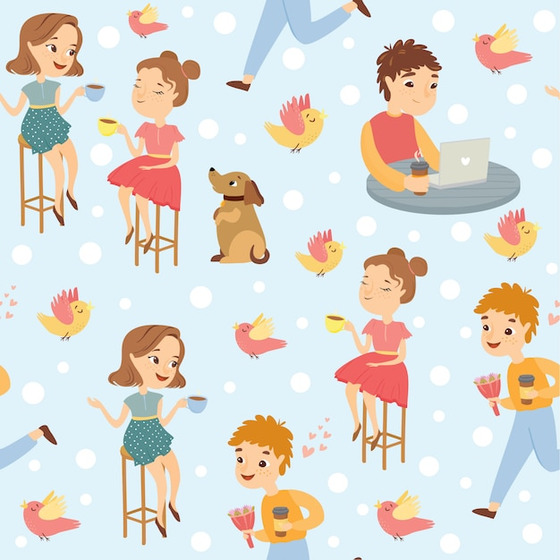 People in a cafe pattern Free Vector