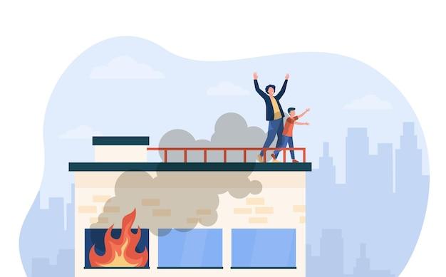 Иллюстрация спасающихся людей от огня
