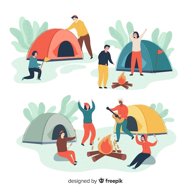 People camping hand drawn style collection Free Vector