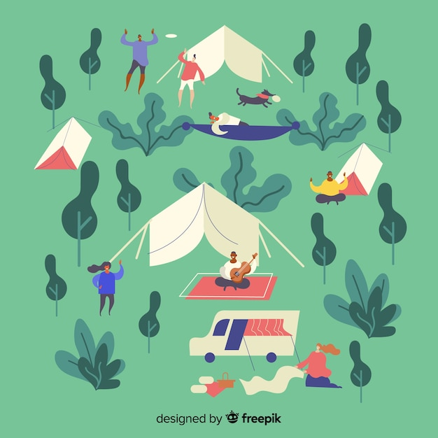People camping illustration flat design Free Vector