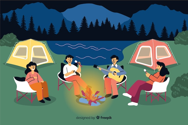 People camping on nature flat design Free Vector