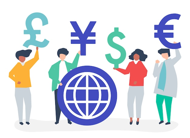 People carrying different currency sign Free Vector