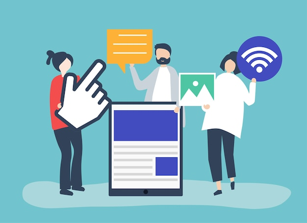 People carrying different icons related to online media Free Vector
