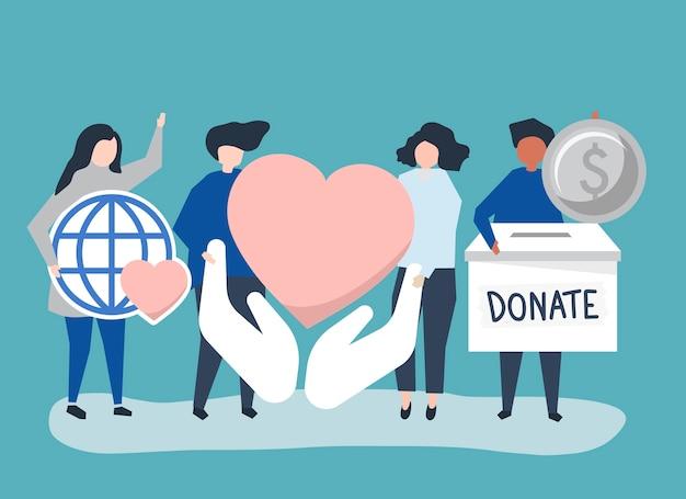 Люди, несущие благотворительные и благотворительные иконки Бесплатные векторы