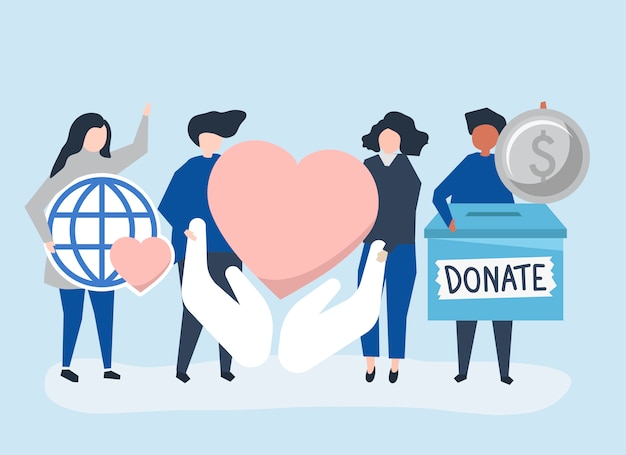 People carrying donation and charity related icons Free Vector