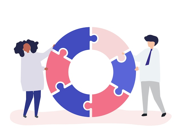 People carrying jigsaw pieces of a donut chart Free Vector