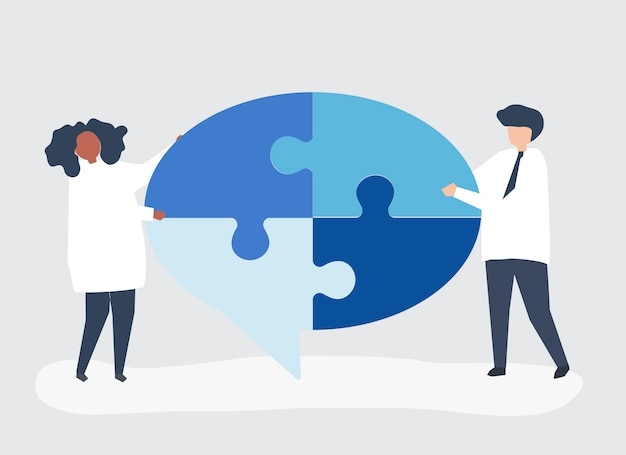 People carrying jigsaw pieces of a speech bubble Free Vector