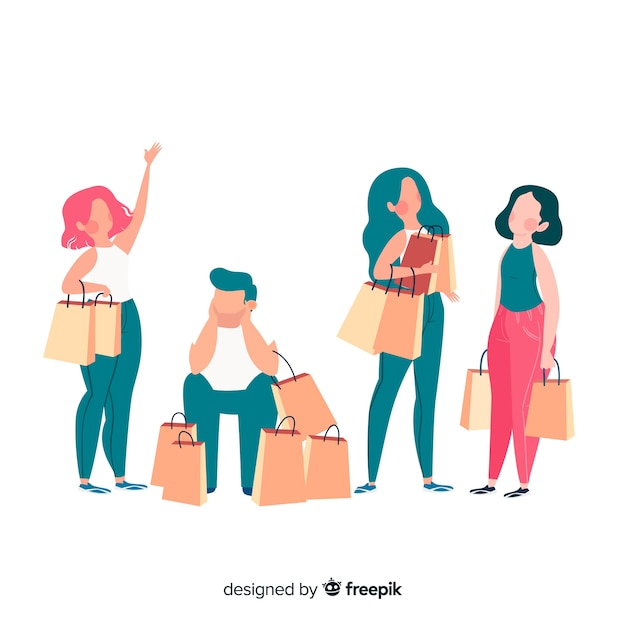 People carrying shopping bags collectio Free Vector