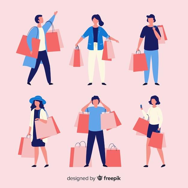 Persone che trasportano la collezione di borse della spesa Vettore gratuito