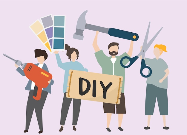 People carrying various diy tools illustration Free Vector
