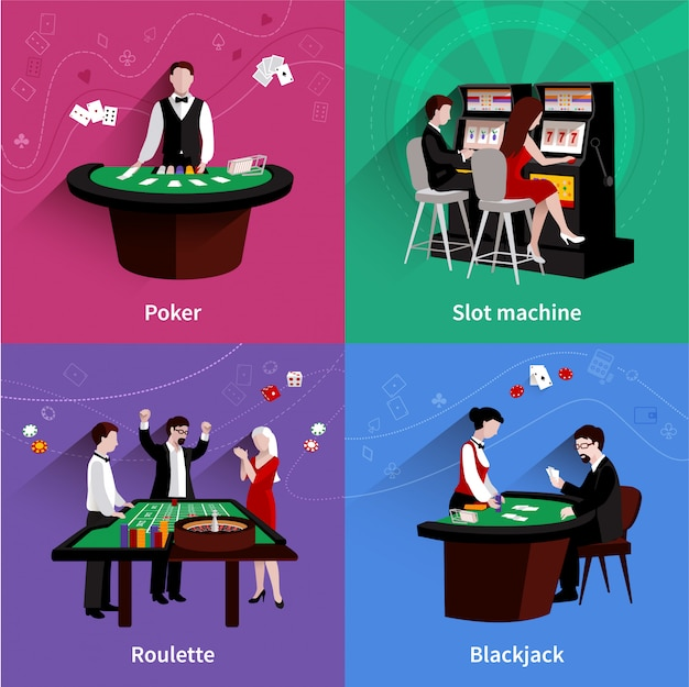 People in casino design concept set with flat poker slot machine roulette blackjack icons Free Vector
