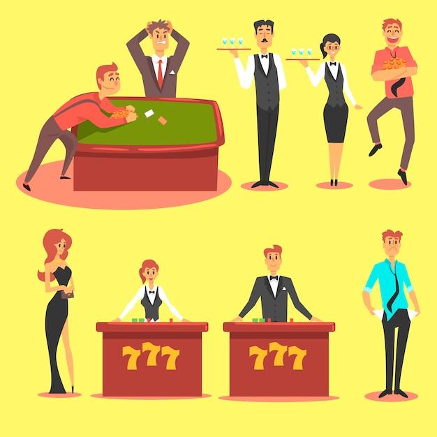 People in the casino. gambling and casino night club set Premium Vector