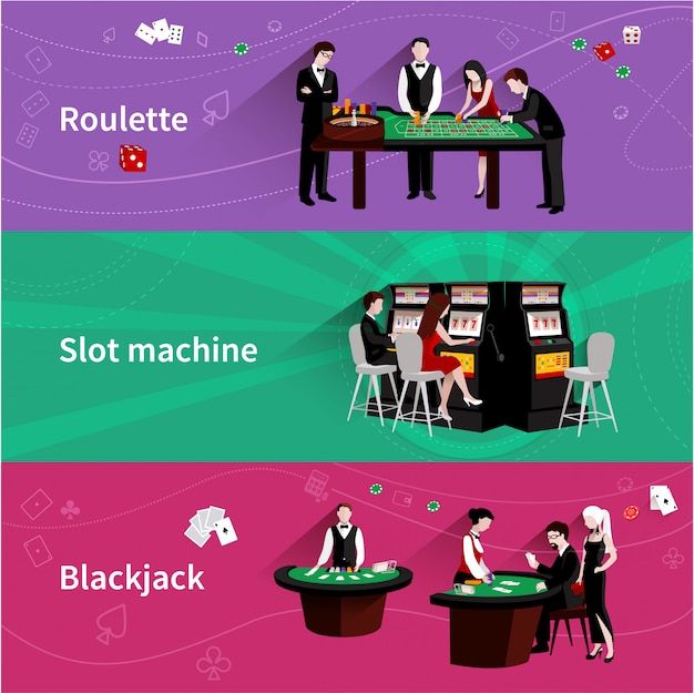 People in casino horizontal banner set with roulette slot machine blackjack elements Free Vector