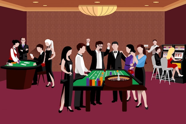 People in casino illustration Free Vector