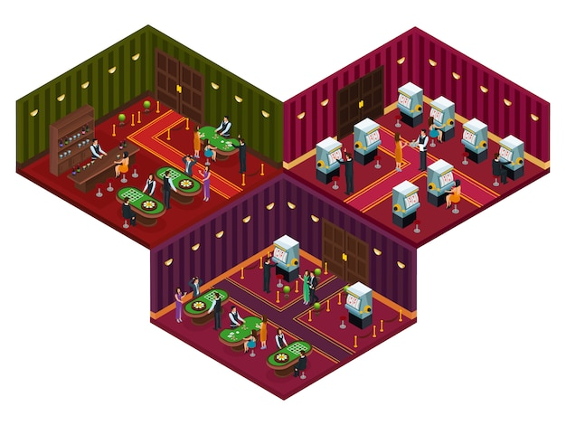 People in casino isometric concept Free Vector