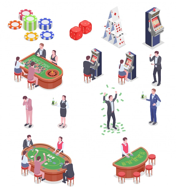 People in casino isometric icons set isolated on white background 3d Free Vector