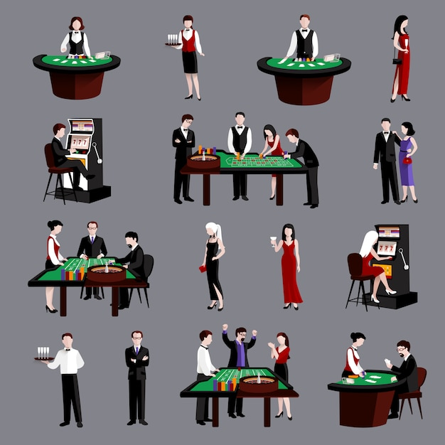 People in casino Free Vector