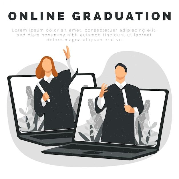 オンライン卒業を祝う人々 Premiumベクター