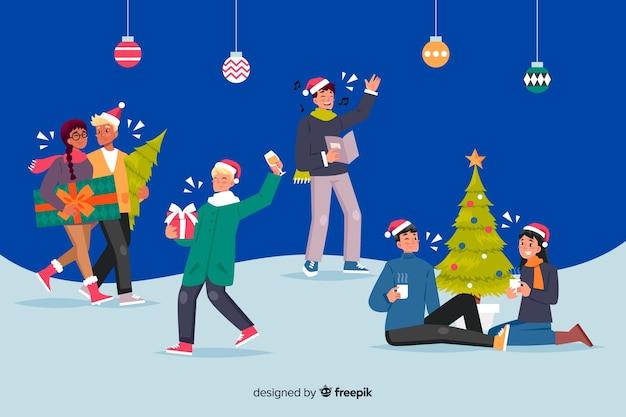 People celebrating christmas cartoon style Free Vector