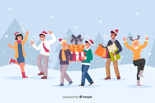 People celebrating christmas  and offering gifts Free Vector