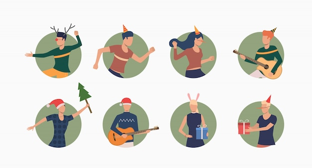 People celebrating christmas set banner Free Vector