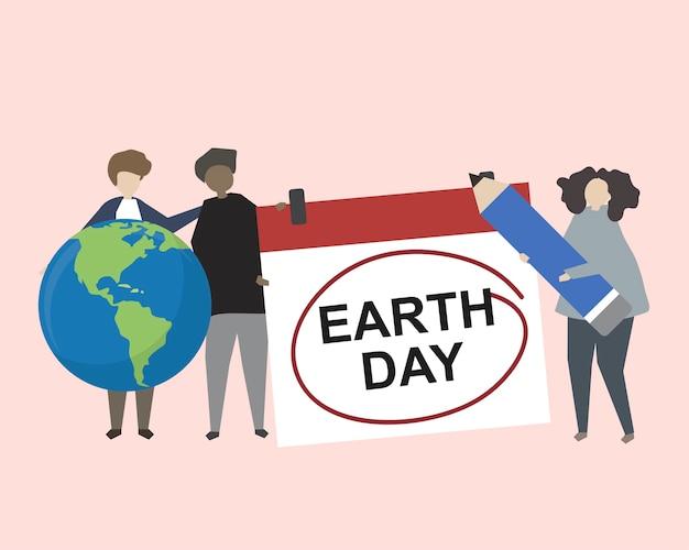Люди празднуют день земли Бесплатные векторы