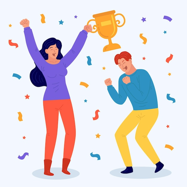 People celebrating a goal achievement and holding a trophy Free Vector