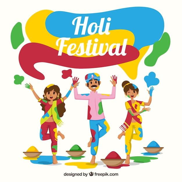 People celebrating holi festival background in\ flat style