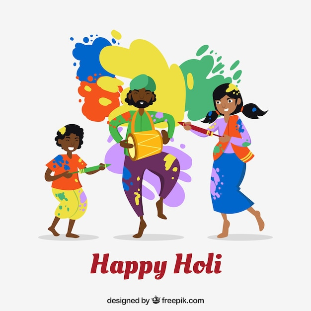 People celebrating holi festival background in flat style Free Vector