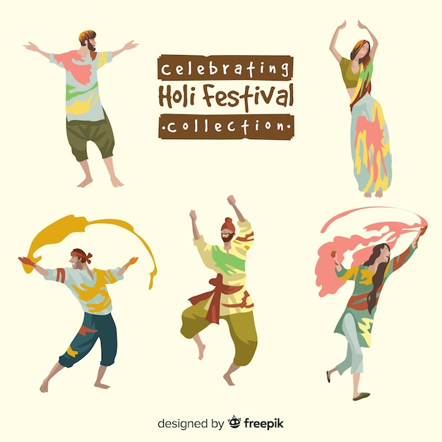 People celebrating holi festival collection Free Vector