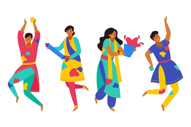 People celebrating holi festival and dancing isolated character Free Vector